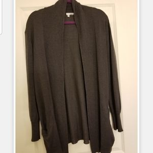 Gray Cardigan Sweater with Pockets